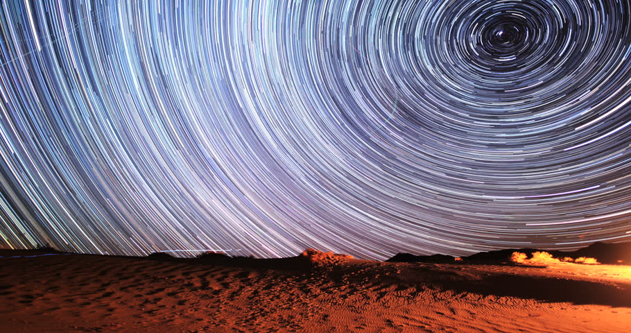 4K Stunning Star Trails Galaxy Cosmos Time-lapse over Death Valley Desert in California. Polaris North Star at center as earth rotates on axis. Beautiful in 4K. Featured in National Geographic.  | Shutterstock HD Video #5839520