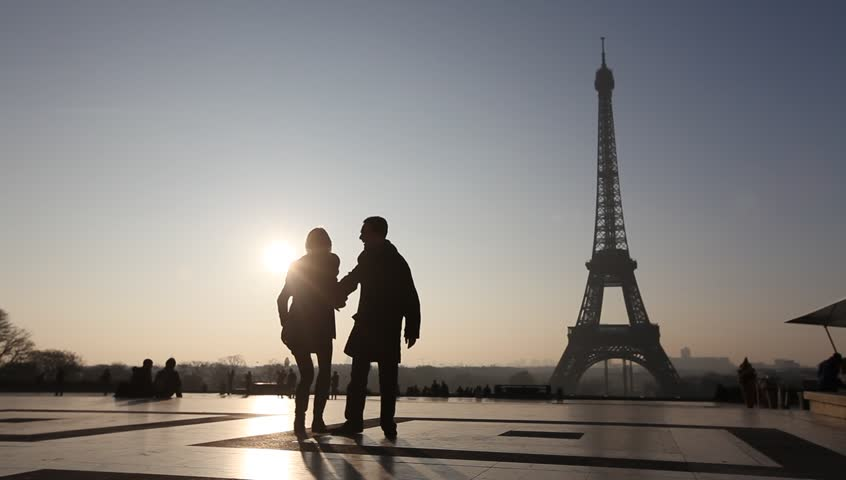 Happy couple near Eiffel tower in Paris, France | Shutterstock HD Video #5841014