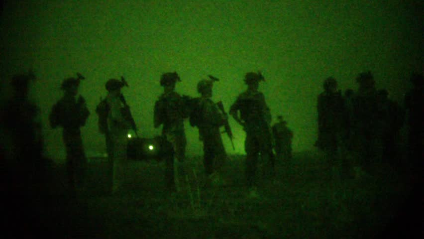Night Vision: Special Ops Soldiers Walk Left to Right with Helicopter Audio