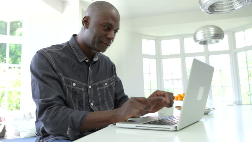 Stock video of african american man working on laptop | 5886884 ...