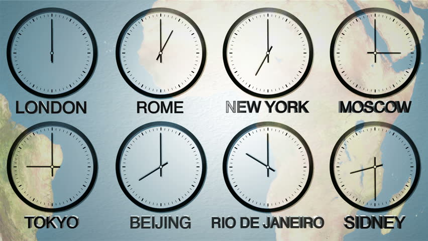 Map of world time zones and clock stock footage video 16149307 24h world time zone time in 8 capitals earth spinning in the background gumiabroncs Choice Image