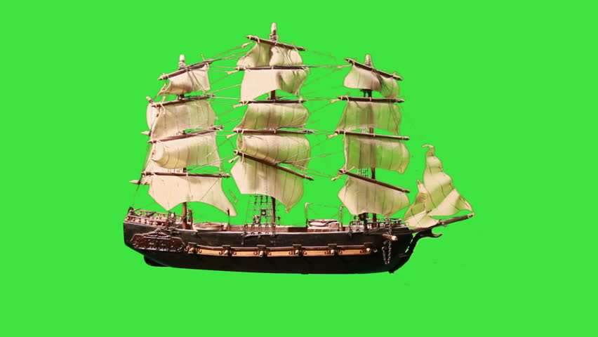 Pirate Sailboat with Green Screen. The green screen can be keyed out to make your own pirate ship at sea.