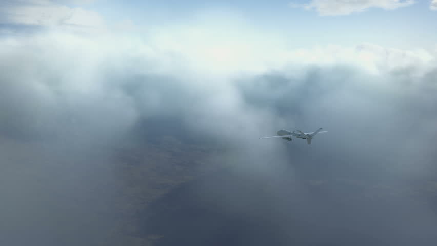 predator drone flying in the clouds