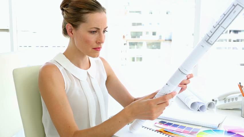Interior Designer Working: Stock Video Clip Of Pretty Interior Designer Working In