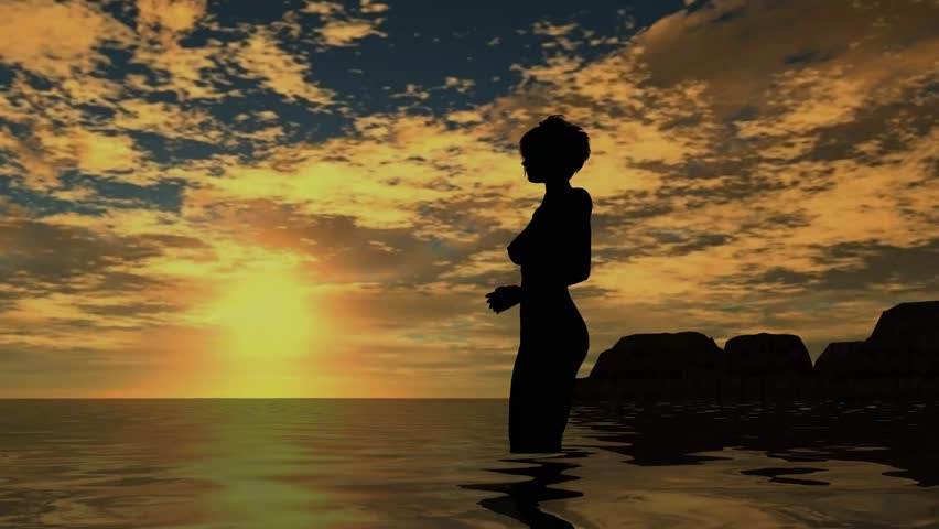 woman on the beach in sunset - nude silhouette - HD stock footage clip