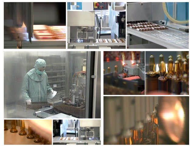 Collage of video clips showing production of vaccines in pharmaceutical factory.