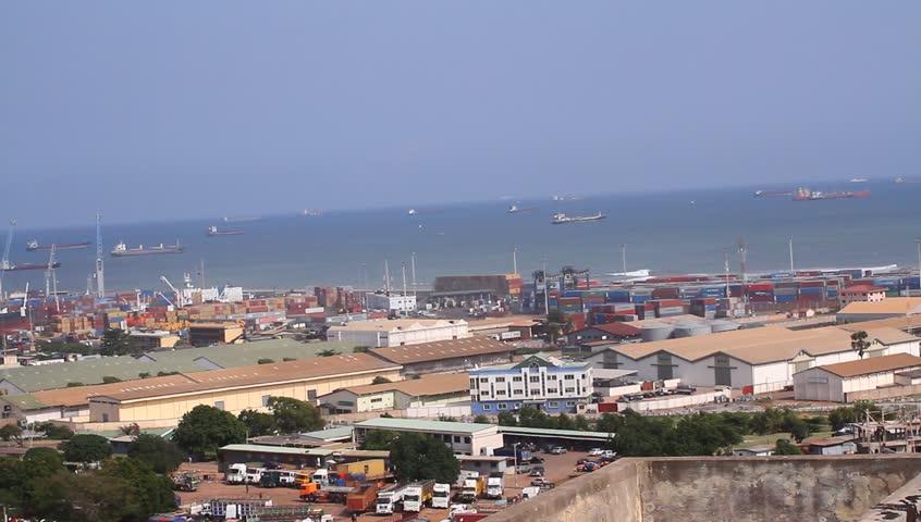 Industrial city,Africa, Tema Harbor / port , Over heard shot, panning