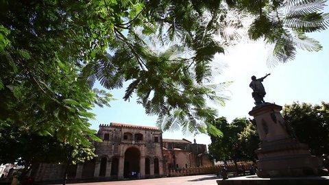 Statue of Christoph Columbus in Dominican Republic - establishing shot