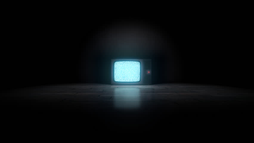 Old TV on the floor. Camera enters the Tv with alpha channel static at the end. | Shutterstock HD Video #5941490