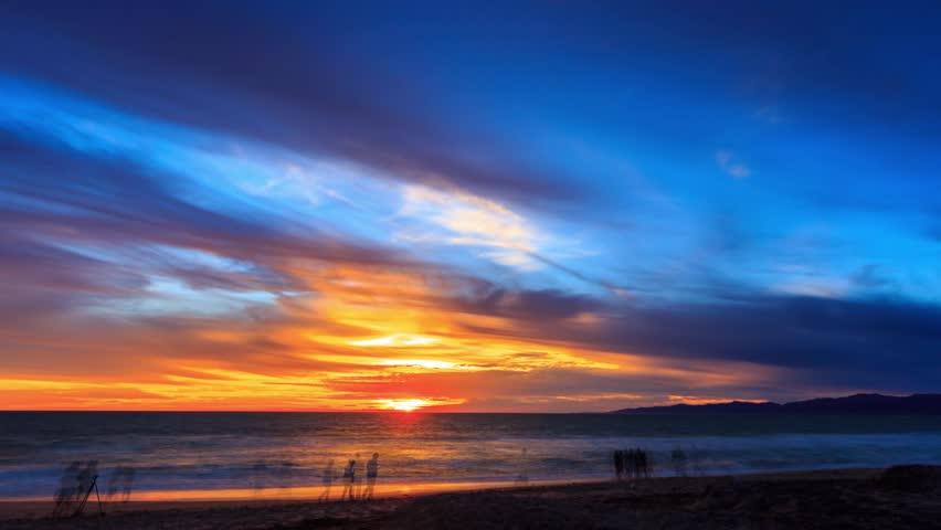 4K UHD. Beautiful scenic sunset over ocean beach in Los Angeles, California. Timelapse.
