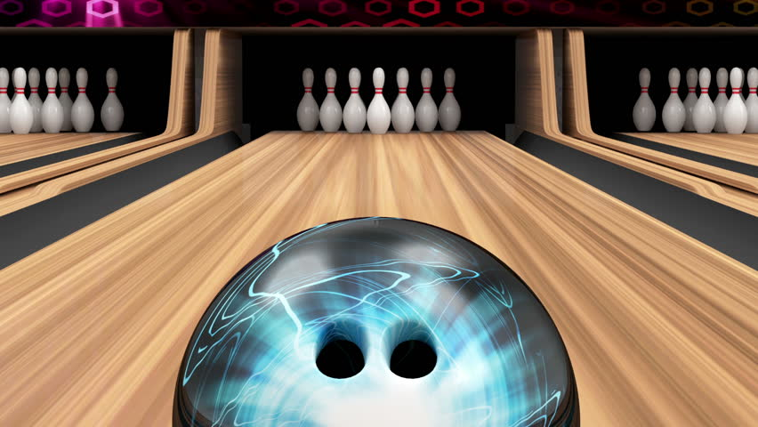 Animation of Bowling Strike. Bowling Ball crashing into the Pins on Wooden Lane. HQ Video Clip