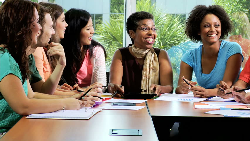 Young Multi Ethnic Male Female College Students Classroom On Campus With Female African American -2349
