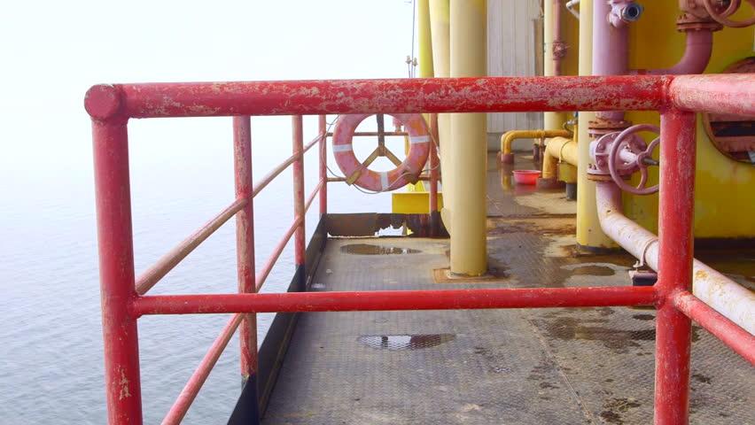 Offshore gas production platform equipment tilt shot