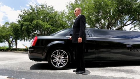Male female corporate business consultants getting into luxury black limousine after arriving at airport for important meeting - Multi Ethnic Business Executives Using Limousine
