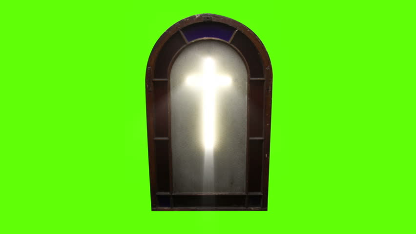 Church Stain Glass Cross with Green Screen