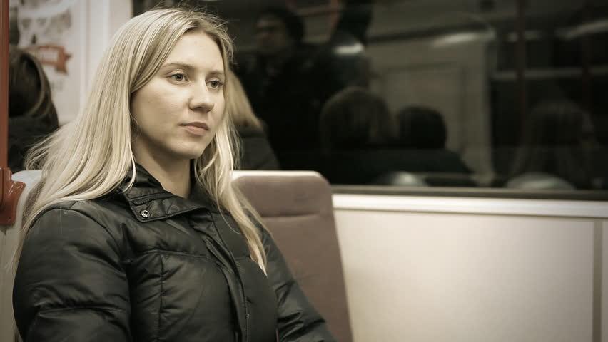 Beautiful young woman seat in vagon subway  | Shutterstock HD Video #6047414