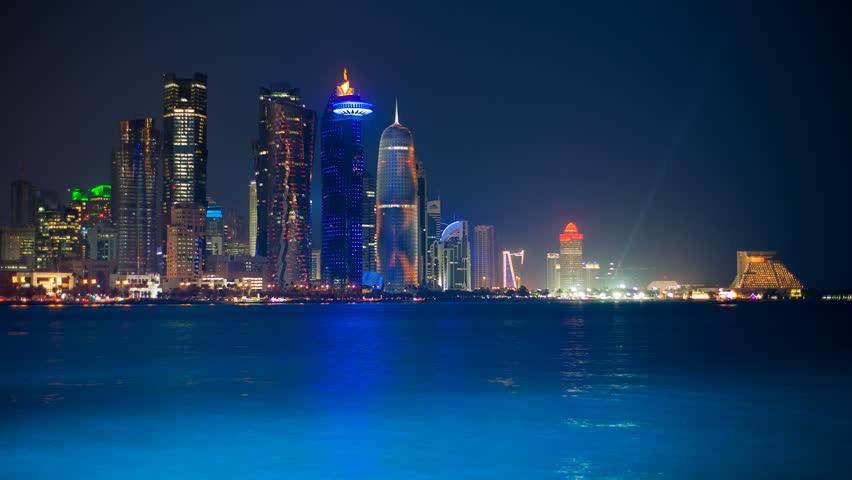 DOHA - CIRCA NOVEMBER 2013: WS T/L Arabian peninsula and west bay central finacial district / Doha, Qatar