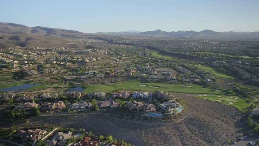 Aerial view of suburban sprawl near Las Vegas, Nevada.   Shutterstock HD Video #6057518