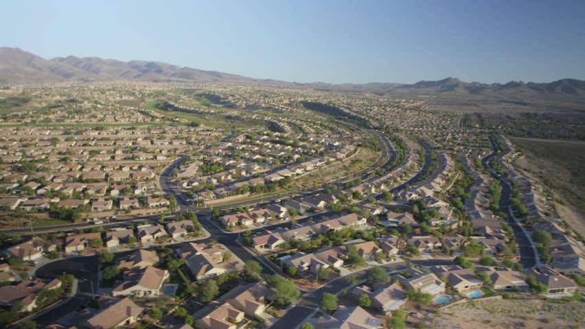 Aerial view of suburban sprawl near Las Vegas, Nevada.