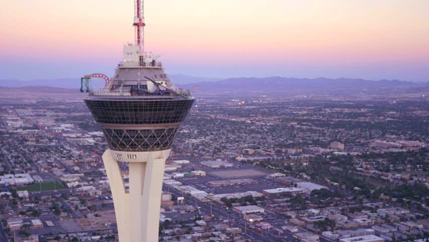 LAS VEGAS, NEVADA, CIRCA 2013 - Aerial view of the Stratosphere Hotel in Las Vegas, Nevada.