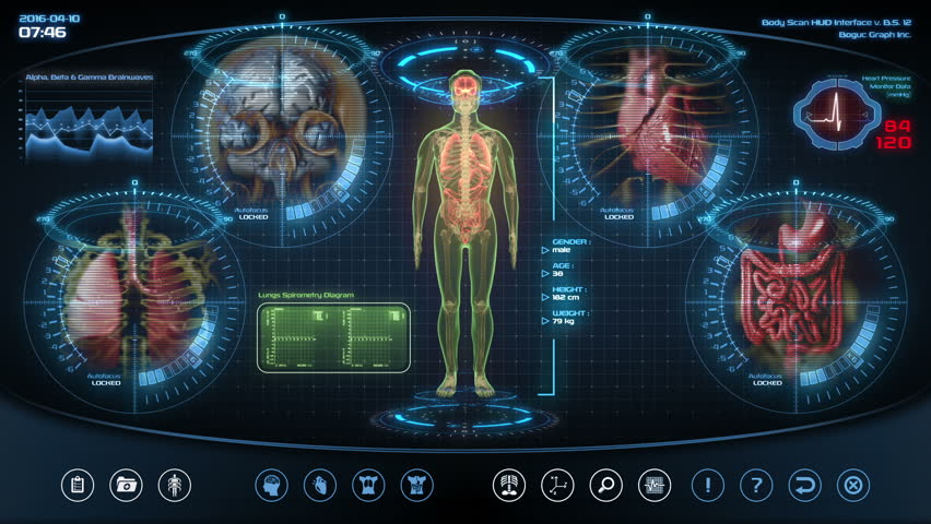 Futuristic human anatomy scan. Holographic medical application interface. Seamless loop.