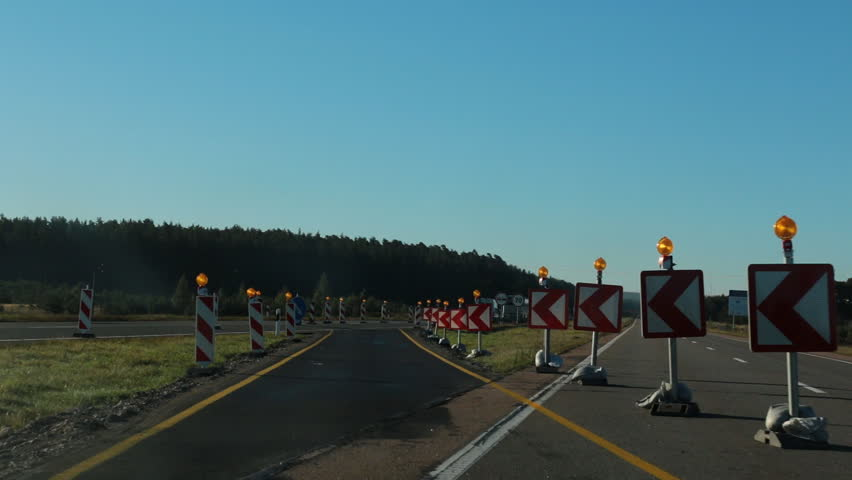 Traffic diversion detour on a highway due to roadwork | Shutterstock HD Video #6091034