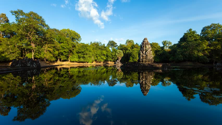 SIEM REAP - OCT 21: Timelapse view of a Neak Pean temple at Angkor. 21 October 2011 in Siem Reap, Cambodia.