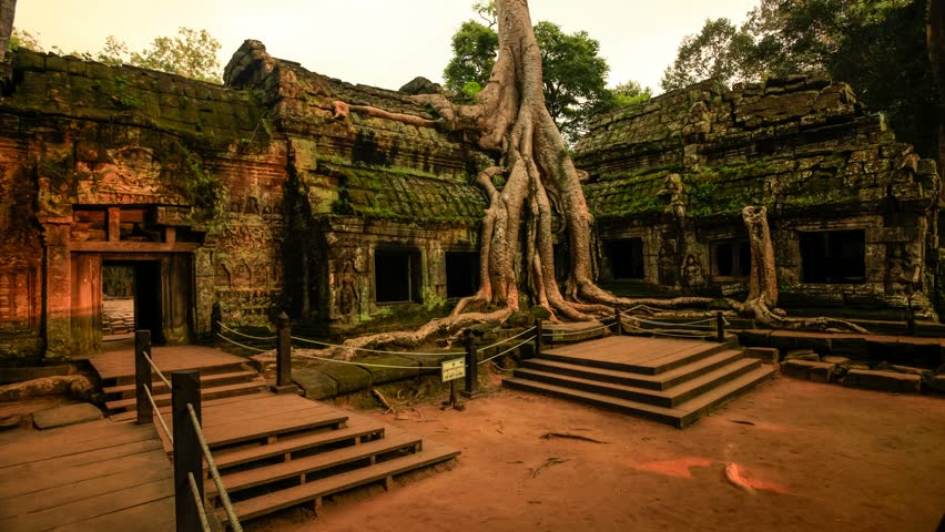 SIEM REAP - OCT 21: Timelapse view of a Tha Prohm temple at Angkor. 21 October 2011 in Siem Reap, Cambodia.