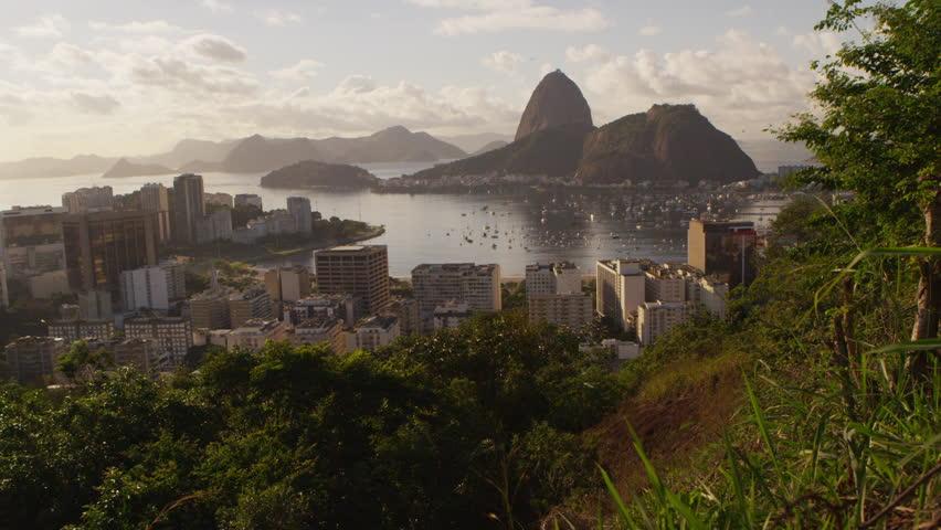 Tracking shot of Rio de Janeiro's Mountains and Guanabara Bay -shaky