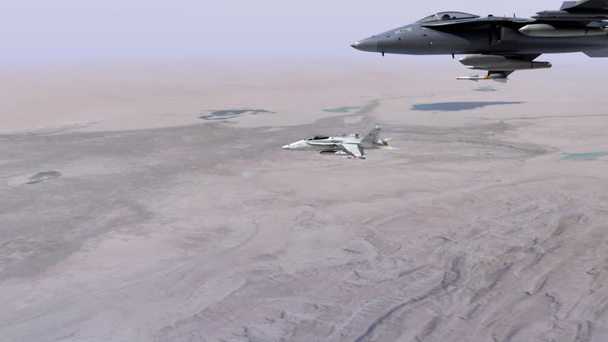 Two F18 fighter jets flying side by side over the Middle East.