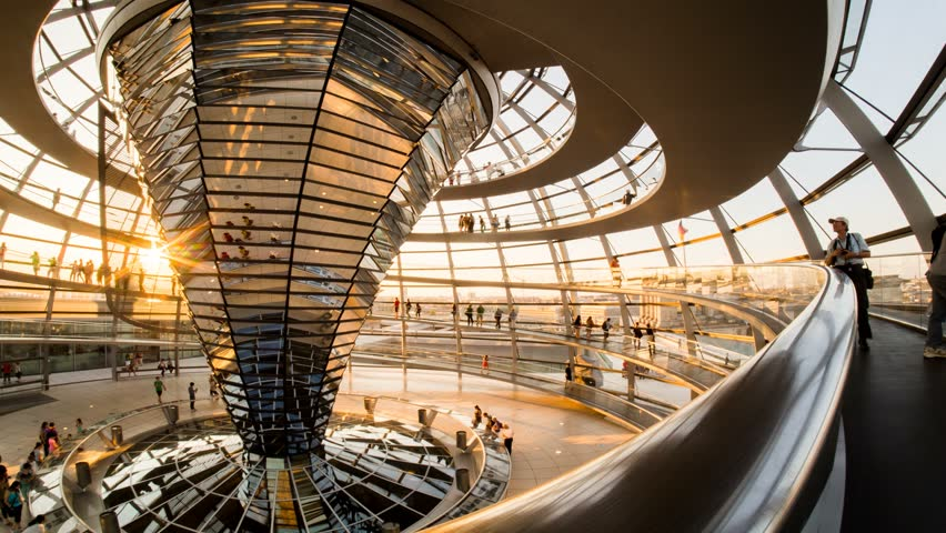 BERLIN - JULY 07: Timelpase view of the inside of the Reichstag dome, seat of the German Parliament and one of the citys main tourist destinations on 07 July 2013 in Berlin, Germany