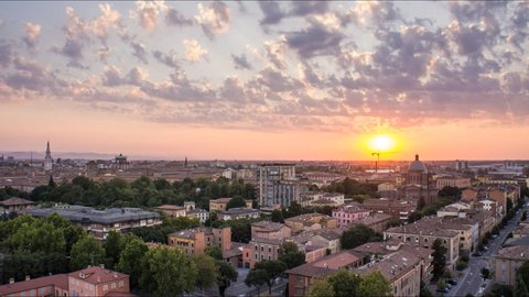 modena skyline from day to night time lapse city lighting up