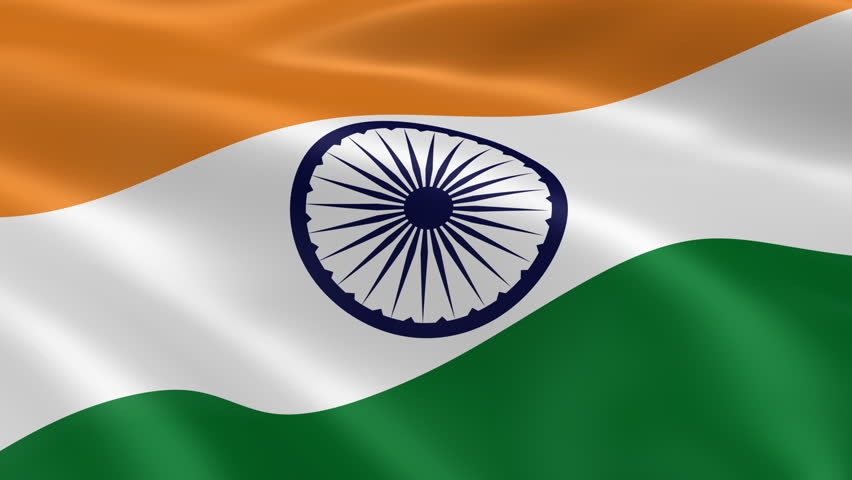 Indian Flag Animated: Indian Flag In The Wind. Part Of A Series. Stock Footage