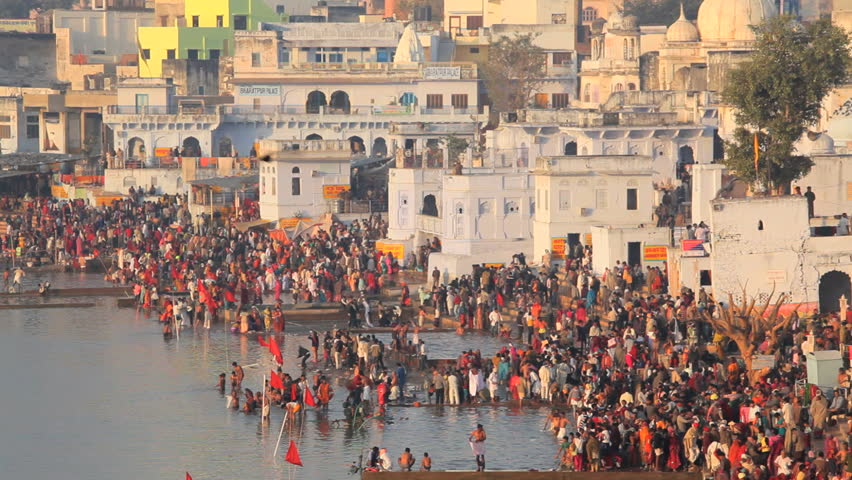 Ajmer stock footage video shutterstock pilgrims bathing in the sacred holy lake at pushkar in ajmer district rajasthan india altavistaventures Image collections