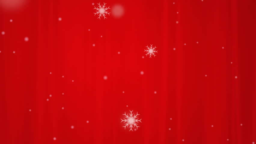Twirling Freezing 3D Snow Animates On A Red Christmas Background ...