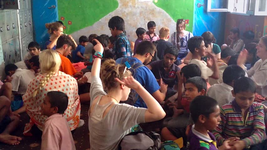 DELHI, INDIA - APRIL 13: Orphaned & runaway kids find refuge at privately funded