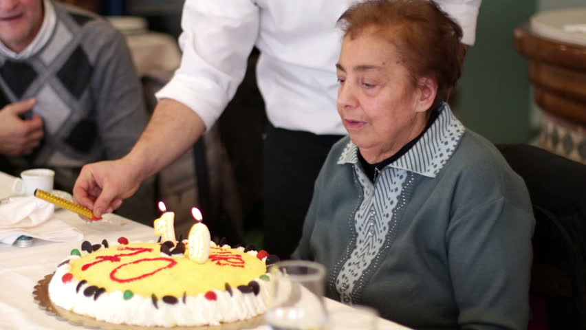 Birthdayblowing Out Candles On Birthday Cake Stock Footage Video