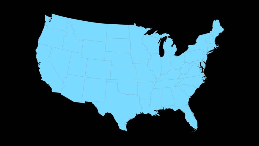 Minnesota Animated Map Video Starts With Light Blue USA National