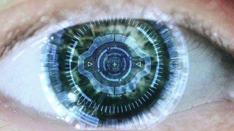Cybernetic brain. Zooming through eye.