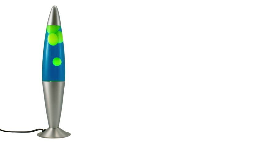 Green Lava Lamp on White Background. Realtime blue and iridescent green lava lamp oozing away. Isolated on a white background for use in graphics etc. Color can be changed with a simple hue shift.