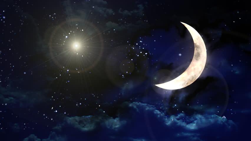 Wallpaper Hd Light Effect Wallpaper: Beautiful Lens Flare Effect In Moon Night Background Stock