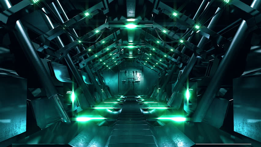 Steel gate opening in science fiction tunnel. Two high quality Sci-Fi tunnel at the end of which a steel gate. The gate opens at the end of the tunnel. Include Luma mask for insert your video material