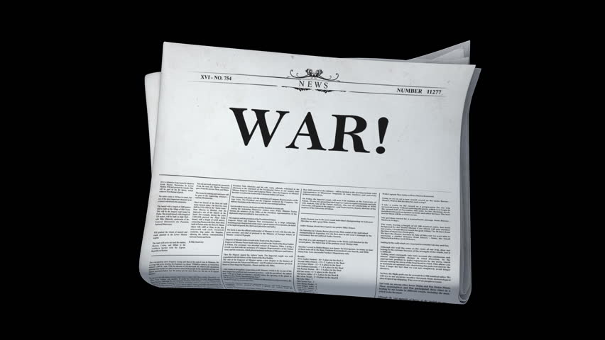 Five Newspapers + Alpha Channel . Five animations of Newspaper. Headlines: War!, Peace!, Invasion!, Conflict!, Terrorism!   Shutterstock HD Video #6270164