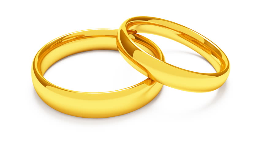 Two Golden Rings Revolving On White Background 1080p Hd Stock Video Clip