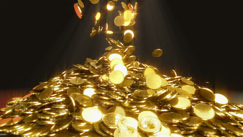 Falling coins. High quality animation of falling coins. This is one dollar gold coins. Animation generated in great 3D physics system. On the top we see the beam of light for mystical atmosphere.