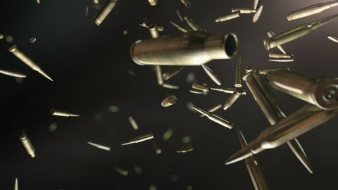 Bullets flight . High quality super slow motion bullets flight in dark space.
