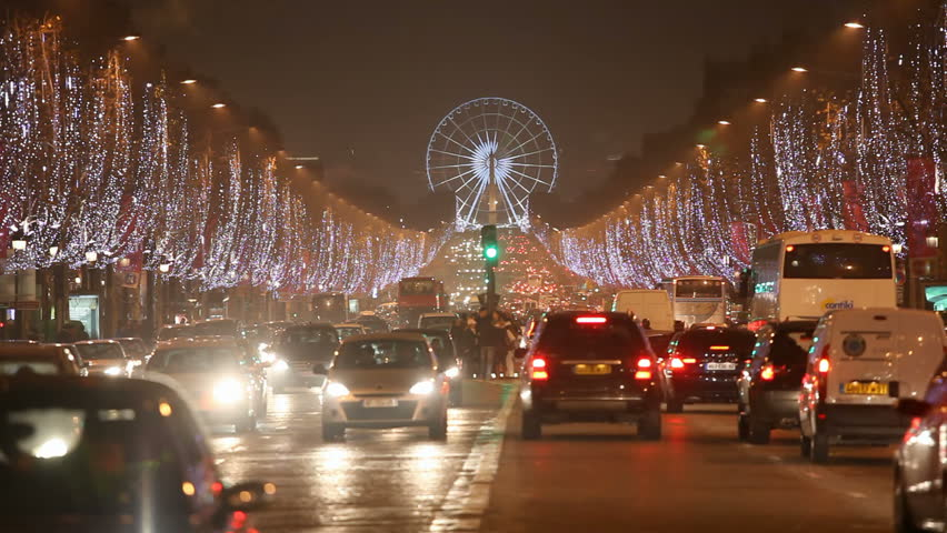 Champs Elysees by night for Christmas - Paris France