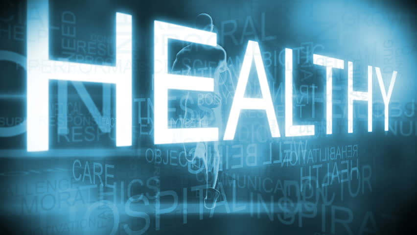CG text motion graphic with health nutrition theme - CG text motion graphic of health nutrition words with exercising man in background