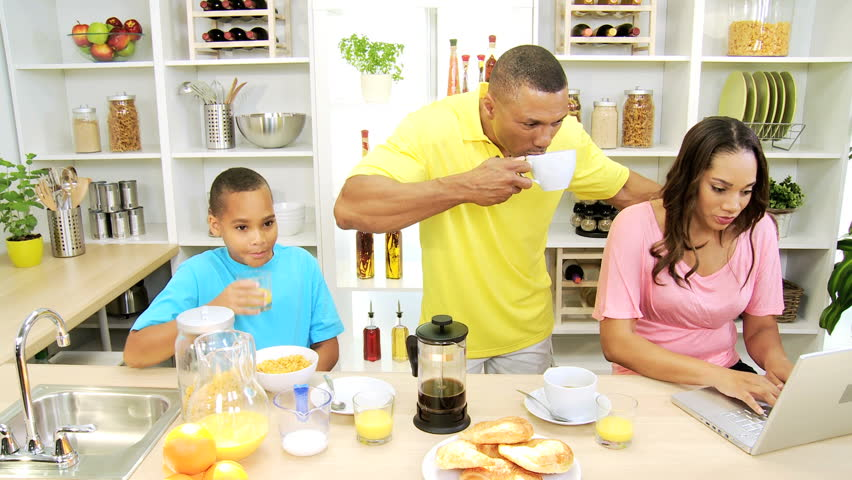 Busy African American Family Kitchen Stock Footage Video ...