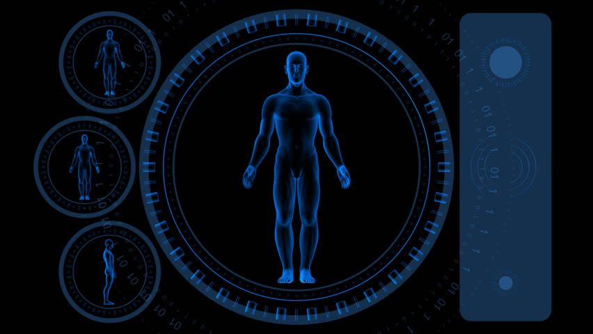 Man Scan Screen - Hi-tech 08 (HD) - 3D animation. Medical, scientific, sci-fi, crime or hi-tech background. Screen with spinning man body and rings. Alpha included. Loop.